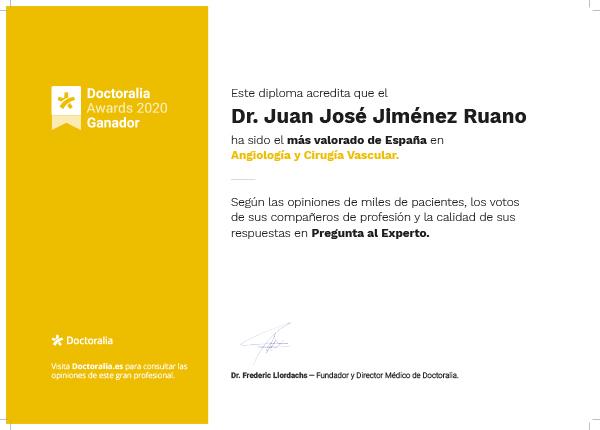 2020-doctoralia-awards-diploma-Juan José Jiménez Ruano